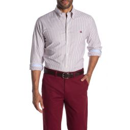 Brookscool(R) Non-Iron Stretch Stripe Print Regent Fit Oxford Shirt