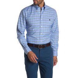 Brookscool(R) Non-Iron Stretch Windowpane Print Regent Fit Oxford Shirt