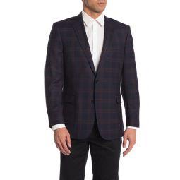 Navy Plaid Two Button Notch Lapel Wool Blend Suit Separate Blazer