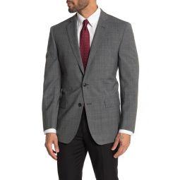 Gray Plaid Two Button Notch Lapel Regent Fit Suit Separates Jacket