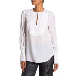 Vienna Pleated Keyhole Silk Shirt