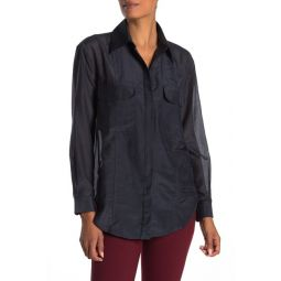 Tamsen Covered Button Long Sleeve Shirt