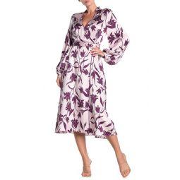 Andrese Floral Print Silk Wrap Dress