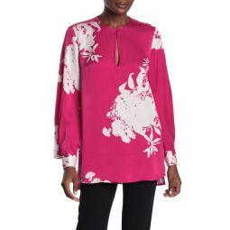 Delainey Long Sleeve Print Silk Blend Blouse