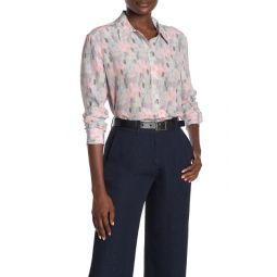 Front Button Printed Silk Blouse
