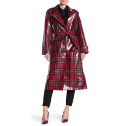 Eastheath Plaid Patent Trench Coat