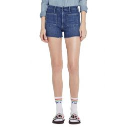 The Tomcat Patch High Waist Cutoff Denim Shorts (Three Little Ships)