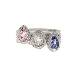 Christie Crystal Detail Stacking Rings - Set of 3 - Size 6.75