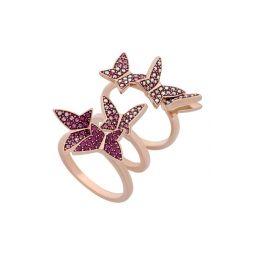Lilia Swarovski Crystal Butterfly Stack Ring Set - Size 6.75