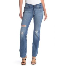 Distressed Curvy Bootcut Jeans
