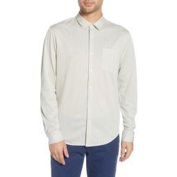 Regular Fit Stripe Cotton Blend Knit Sport Shirt