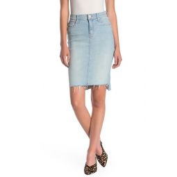 The Peg Step Fray Hem Denim Skirt