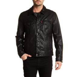 Classic Faux Leather Trucker Jacket