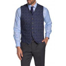 Black Floral Five Button Vest