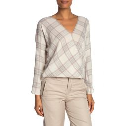 Textured Plaid Crossover Blouse