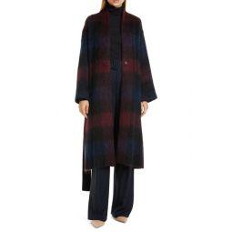 Brushed Plaid Wool Blend Long Coat