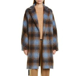 Plaid Belted Wool & Alpaca Blend Coat