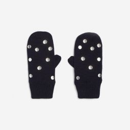 Girl silver polka dot mittens