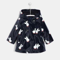 Toddler girl rabbit print raincoat
