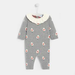 Baby girl Intarsia birds knit onesie