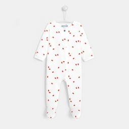 Baby girl bird print footed pajamas