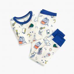 Kids pajama set in back to school print
