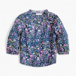 Girls floral ruffle-trimmed button-up