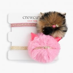 Girls pom-pom kitty hair ties