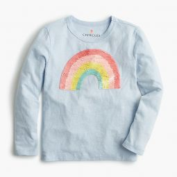 Girls long-sleeve rainbow T-shirt with flippable sequins