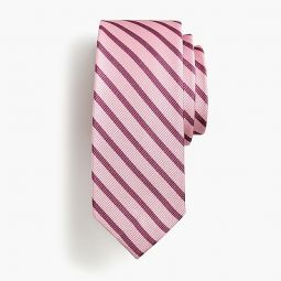 Boys silk tie in berry stripe
