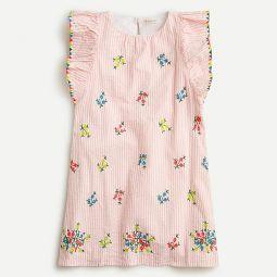 Girls embroidered seersucker dress