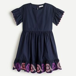 Girls embroidered scallop dress