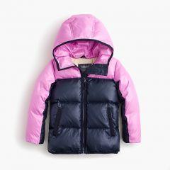 Girls colorblock marshmallow puffer jacket in neon