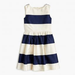 Girls rugby-striped dress in sateen