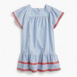 Girls rickrack-trimmed dress in seersucker