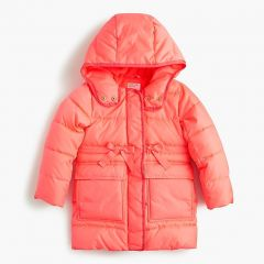 Girls long puffer coat with eco-friendly Primaloft