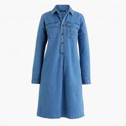 Petite Chambray Shirtdress With Utility Pockets