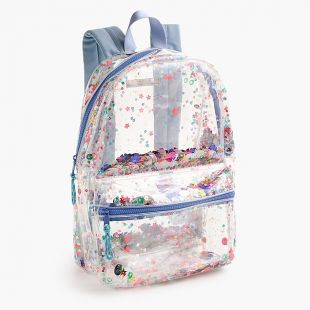 Girls clear sequin backpack