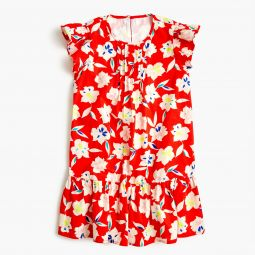 Girls ruffle-trimmed dress in red floral