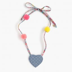 Girls fabric necklace with hearts and pom-poms