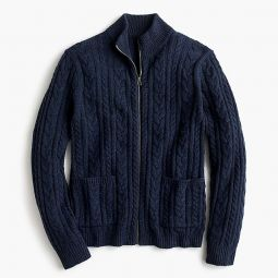 Rugged Merino Wool Cable-knit Full-zip Sweater