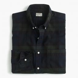 Slim Untucked American Pima Cotton Oxford Shirt With Mechanical Stretch In Black Watch Tartan