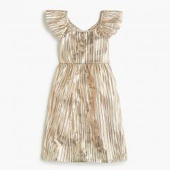 Girls gold flutter-sleeve dress