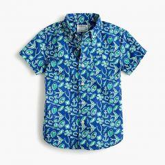 Boys short-sleeve stretch poplin button-down in lucky print