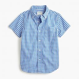 Boys short-sleeve stretch poplin button-down in gingham