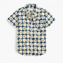 Kids short-sleeve stretch poplin button-down in daisy print