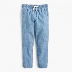 Boys chambray pull-on pant with reinforced knees