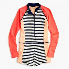 Girls full-coverage swimsuit in colorblock and stripes with UPF 50+