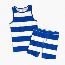 Kids sleeveless pajama short set in stripe