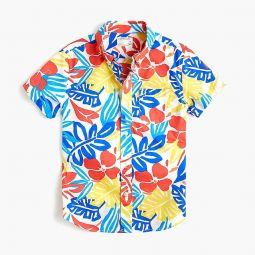 Kids short-sleeve stretch poplin button-down in color-pop floral